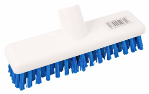 Deck Scrubber Hygiene Brush 23cm 9 inch - Colour Coded Blue. with threaded socket